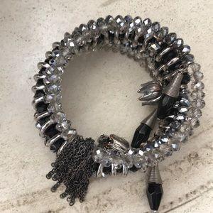 Unique crystal tassel wrap bracelet
